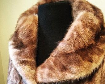 ON SALE Vintage 50s Brown Mink Jacket sz. Medium
