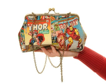 Vintage Avengers Comic Covers Day Handbag and Clutch In One