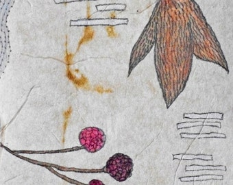 Mixed Media Collage on Teabag - Natural forms - Daily Drawing March 30, 2012