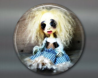"3.5"" gothic home decor, gothic art doll Refrigerator Magnets, gothic doll collector fridge magnet, large magnet, kitchen decor, MA-AD37"