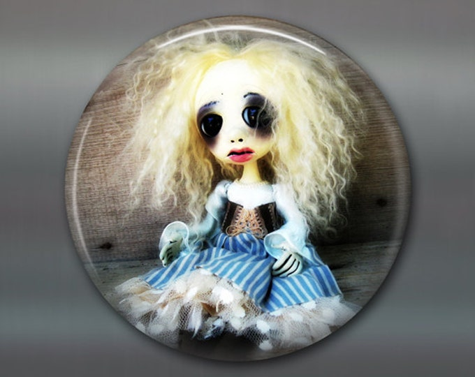 """3.5"""" gothic home decor, gothic art doll Refrigerator Magnets, gothic doll collector fridge magnet, large magnet, kitchen decor, MA-AD37"""
