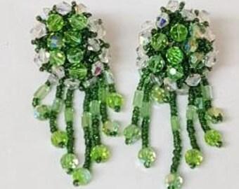 Peridot Green Clear Crystal Beaded Cluster Chandelier Clip On Vintage Swarovski Formal Earrings