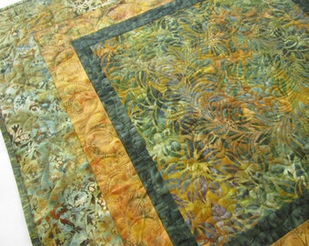 Table Topper, Batik Quilted Table Topper, Handmade Table Topper, Fall Colors, Table Decor, Home Decor, Fall Decor, Gold and Green Topper
