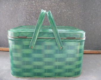 Vintage Metal Hamper, Basket, green, Christmas, Large, Picnic Basket