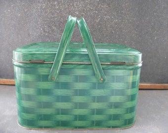 Vintage Metal Hamper, Basket, green, Christmas, Large, Picnic Basket
