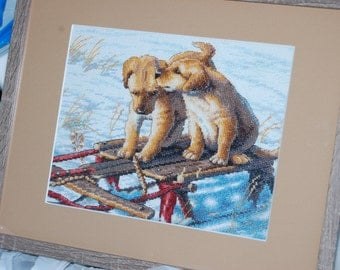"PUPS ON A SLED - ""Completed and Framed Cross Stitch"""