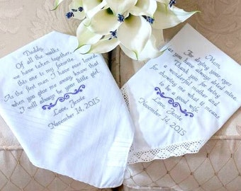 Gift for Mom Gift for Dad Wedding Gift Embroidered Wedding Handkerchiefs Father of the Bride Mother of the Bride Wedding Gift Mom and Dad