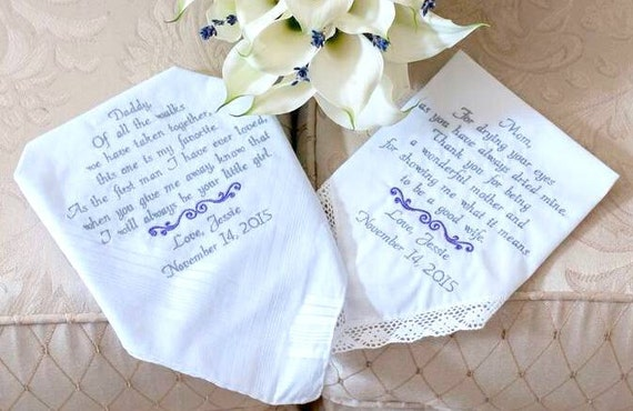 Gift for Mom Gift for Dad Wedding Gift Embroidered Wedding ...