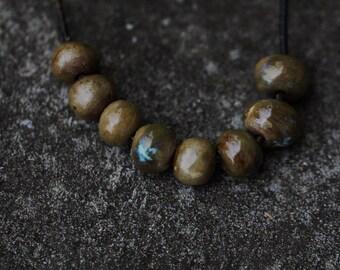Ceramic Beads clay beads handmade Beads porcelain clay beads art beads  earthy tribal beads artisan beads bead supplies potterygirl