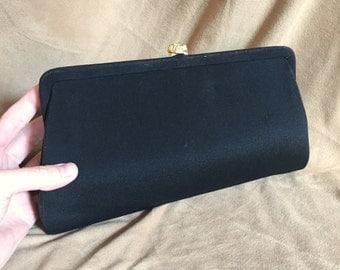 Vintage 60's Black Handbag, Clutch Evening Bag, with Wrist Chain, Vegan Friendly Fabric Purse