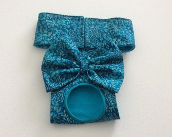 Female Dog Diaper - Panty - Britches - Nappy - Teal and Gold Sparkle - Available in all Sizes