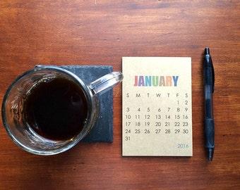 2016 Small Desk Calendar or Wall Calendar - Modern Typography, Colored Typographic Calendar, Kraft Paper Block Type Minimalistic