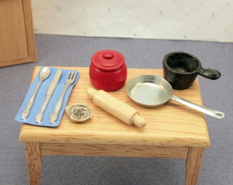 Lot Miniature Dollhouse Kitchen Accessories Cast Iron Pan Rolling Pin Cookie Jar 1 inch Scale
