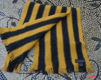 Banana Republic Yellow and Gray Wool Strip Scarf - Made in Scotland