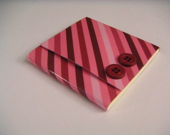 Shades of Pink Diagonal Striped Sticky Notes Pad with Two Dark Pink Buttons