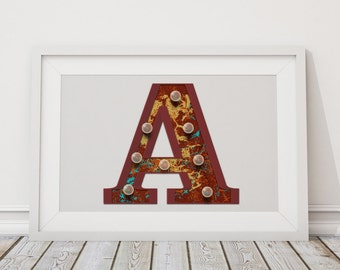 Printable Marquee Letters A to D - A, B, C, D Initials - Instant Download - High-Res Vector Art Typography - Rusty Alphabet, Marquee Lights