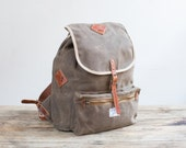 No. 740L Ruck Sack in Dark Khaki Waxed Twill & Harness Leather