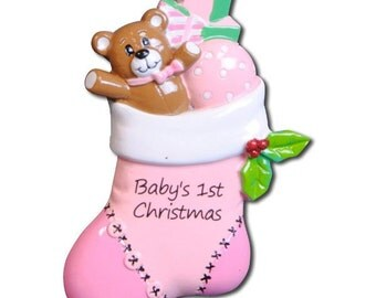 Personalized Pink Stocking Baby Girl's First Christmas Ornament - Newborn, Baby Shower Gift