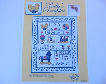 Baby's Sampler Cross Stitch Pattern Plus Charms, Baby's Name, Birthdate, Duck, Infant Sampler Pattern, Baby's Weight, Stitching Pattern