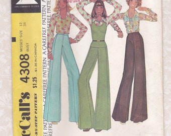 SQUARE PANTS PATTERN, McCall's 4308, Size 12, Bust 34, Blouse & Top Included, 1974, Vintage Clothing, Sewing Supply