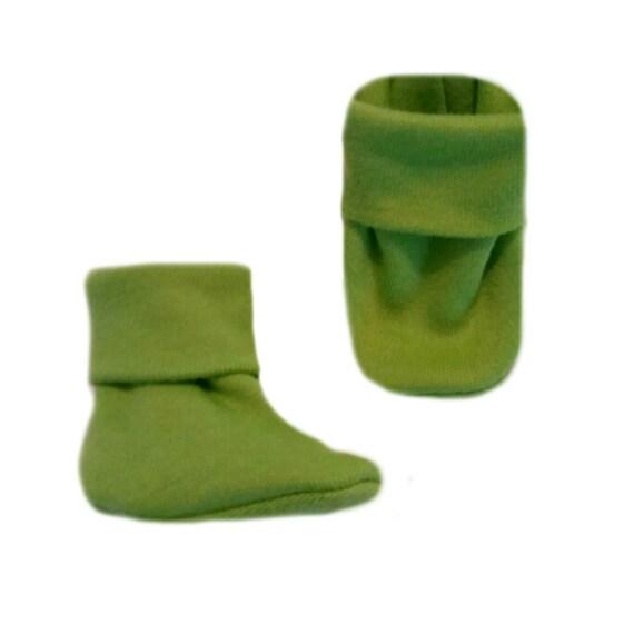 Unisex Baby Lime Green Booties Cute Crib Shoe Socks 5 Sizes