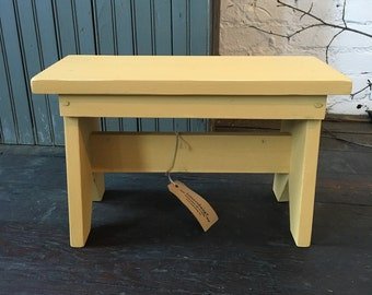 Handmade Wooden Step Stool No. 01 - with Milk Paint Finish, Footstool, Farmhouse, Solid Wood, Milking Stool, Rustic,