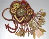Clockwork Gears Steampunk Style Chronos Necklace Brooch EBWC