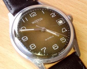 25% SALE OFF Vintage wrist watch Vostok mens watch men watch mens watch brown