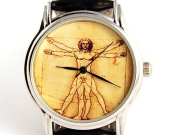25% SALE OFF Watch Da vinci art  Vitruvian Man by Leonardo da Vinci, wrist watch, mens watch, quartz watch, watch