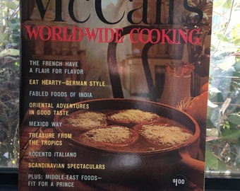 World Wide Cooking Cookbook, 1965 McCalls, Full Color Photos, Mid Century Modern Recipes and Retro Illustrations, International Recipes