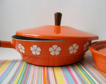 Vintage Skillet and Pan Set, Orange Daisy, Flower Power, Japan Imperial