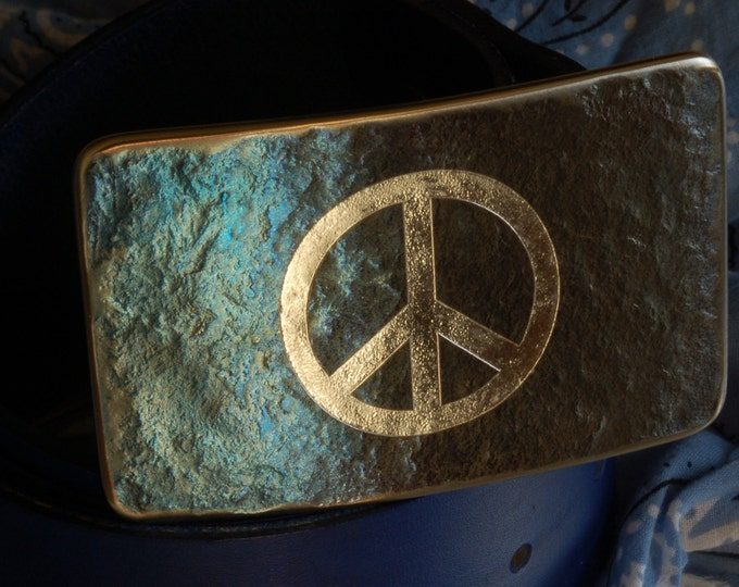 """Peace Sign Belt Buckle Hand Forged Hypoallergenic Accessories Buckle Signed Original fits 1.75"""" Blue Hand Dyed Belt and Buckle Unisex Set"""