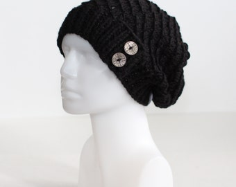Black Knit Hat with Buttons, Slouchy Toque, Women and Teens