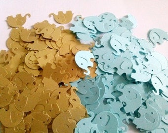 Blue and Gold Elephant Die Cuts - Table Confetti - Baby Shower Decoration - Paper elephants - Gold and Blue baby shower Boy