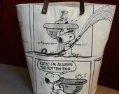 Peanuts X-Large Fabric Organizer-Leather Handle / Hamper / Basket / Storage Container / Basket Bin /Round Bottom