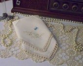 Something Blue, Bridal, Hand Crochet, Handkerchief, Hanky, Hankie, From this day forward, Lace, Bridal Hanky,  Ready to ship, Embroidered