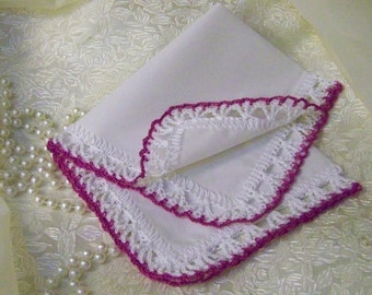 Bridesmaids Handkerchief, Hanky, Hand Crochet, Magenta, Fuschia, Bridal Party Gift, Monogrammed, Personalized, Embroidered, Lace, Lacy