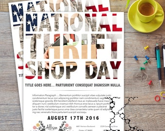 National Thrift Store Day Flyer   Information   Sales   Invitation
