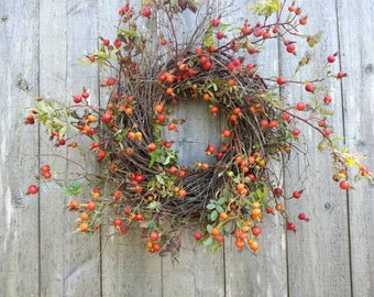 Rosehip and twig wreath, natural rosehips