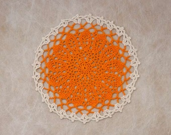 Vibrant Orange Flower Crochet Lace Doily, Table Decor, New