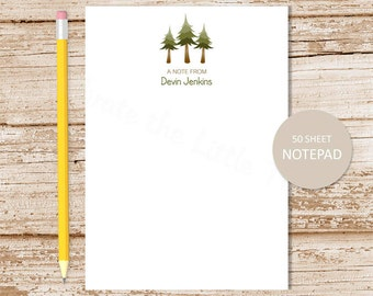 pine trees personalized notepad .  tree note pad . evergreen tree . hiking camping . nature notepad . personalized stationery . stationary