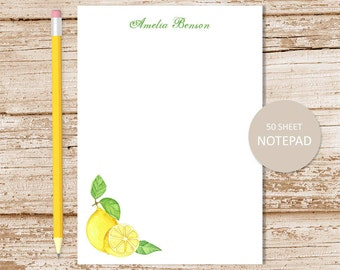 personalized lemon note pad . watercolor lemons  . personalized notepad . summer fruit . personalized stationery . lemons stationary
