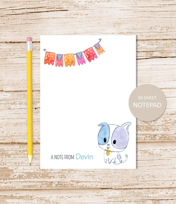 dog personalized notepad puppy dog note pad watercolor