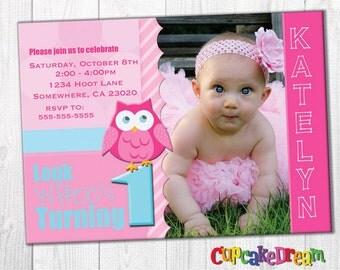 First Birthday Invitation, Owl Birthday