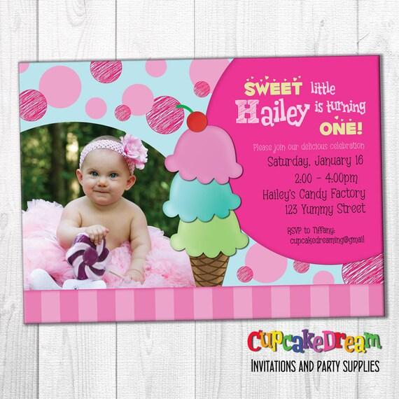 Ice Cream Party Invitation, Sprinkles Birthday