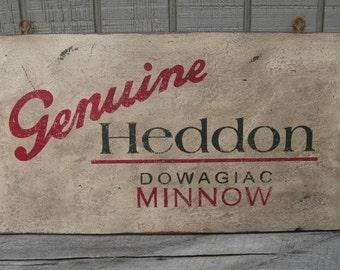 Vintage Replica Heddon Dowagiac Minnow Trade Sign