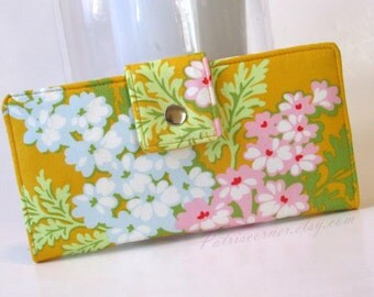Handmade women wallet - Gold yellow clutch with pink and white flowers - Ready to ship - ID clear pocket - cotton purse - Gift ideas for her