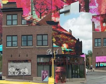 Surreal, Minneapolis Collaged, fine art photo montage wall art, home decor, office art, Minnesota art, kitchen art, edgy art, surprise art