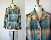 1950s wool plaid housecoat / teal and brown button up jacket / oversized plus size