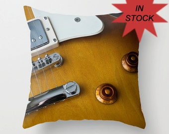 16x16 Electric Guitar Pillow Cover, Recording Studio Lounge Throw Cushion, Man Cave Decor, Gift Ideas for Band Member, Guitarist, Musician